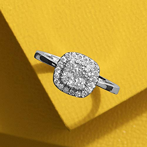 Cushion Shape Pavé Cluster Diamond Ring, 0.10cts, Sterling Silver…