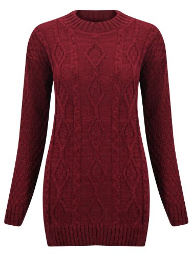 (M) para mujer manga larga Chunky diamante Cable de punto señoras parte superior de punto Jumper Sweater | vino – Chunky Cable Knit largo Jersey | ml 12/14