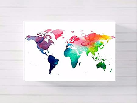 World map nursery a3 canvas picture nursery gift watercolour paint world map nursery a3 canvas picture nursery gift watercolour paint splatter ready to hang publicscrutiny Image collections
