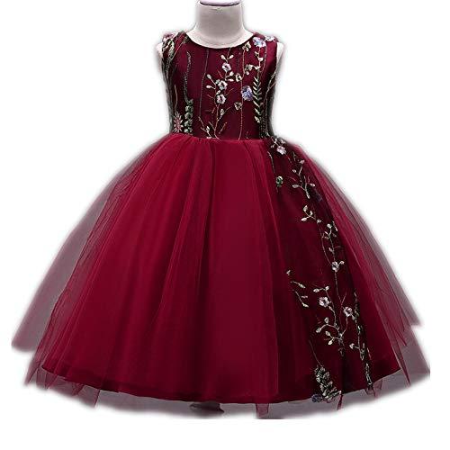 Wedding Dress Girl Princess Dress mesh Tutu Cute Short-Sleeved Skirt(Jujube red 160cm(12-13 Years)) ()