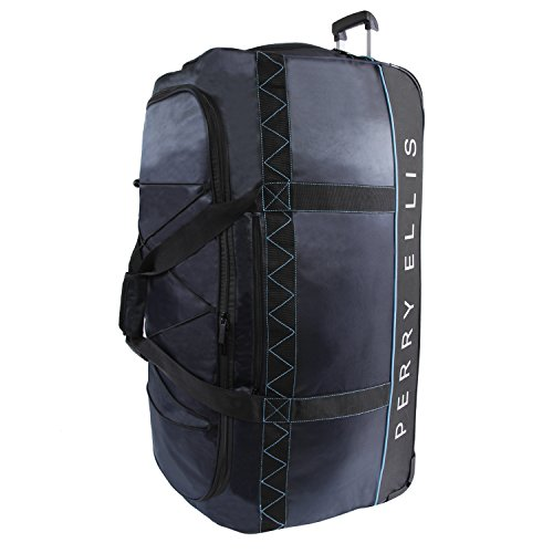 Perry Ellis Mens Extra Large 35 Rolling Bag-A335 Duffel Bag Navy/Blue One Size