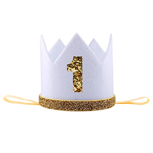 iMagitek Baby Boy 1 Year Old Birthday Crown Hat Decorations Photo Prop Party Supplies Favors - White ()
