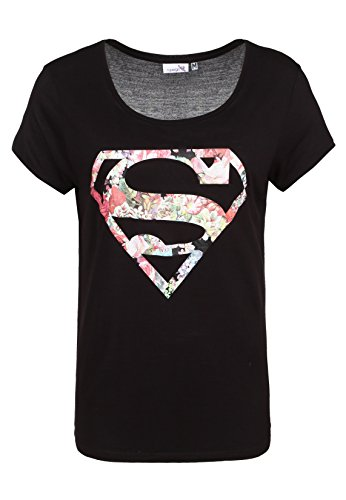 Sublevel Damen Superman T-Shirt mit Blumen-Print - Frauen Shirt Rundhals Ausschnitt mit DC Comic Logo schwarz M