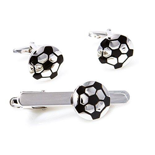 MRCUFF Soccer Ball Cufflinks and Tie Bar Clip with a Presentation Gift Box & Polishing Cloth