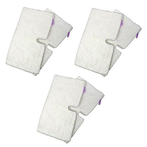 EcoMaid Accessories For Replacement RECTANGLE Microfiber Cleaning Pads Suitable for Euro-Pro Shark Steam Mop S3501 (Pack of 6)