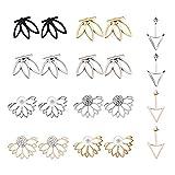 Staron 10 Pairs Ear Jacket Stud Simple Trend Hollow Lotus Flower Triangle Stud Earrings Sansitive Ears Simple Chic Jewelry Set Ear Stud Jewelry for Girls Women Set , Personalized Earrings (Multicolor)