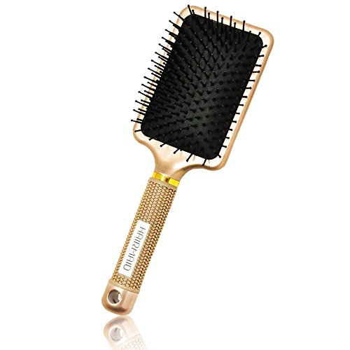 HairMaid - Professional detangler hair brush - Curly or straight long or short hair - Women men girls and boys - Natural thick or thin hair - Easy straightening - Black color synthetic bristle styling