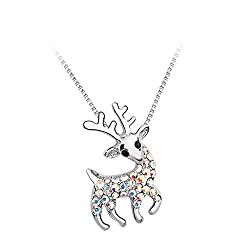 Gorgeous Jewelry Color White Christmas Reindeer Cheerful Fawn Pendant Diamond Accented Style Charming Beauty Necklace