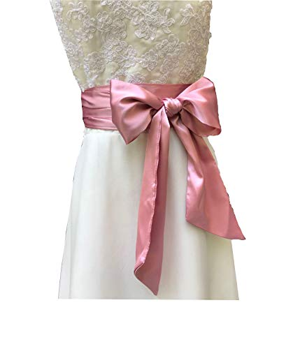 Eyrie Special Occasion Dress sash Bridal Belts Wedding sash 4'' Wide Double Side (Dusty Pink)