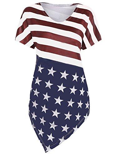 Women's Vintage Dress Round Neck Pocket Strapless Skirt American Flag Dress -