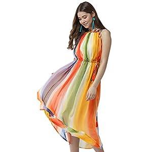 StyleStone Women's Chiffon Tie up Rainbow Print Maxi Dress