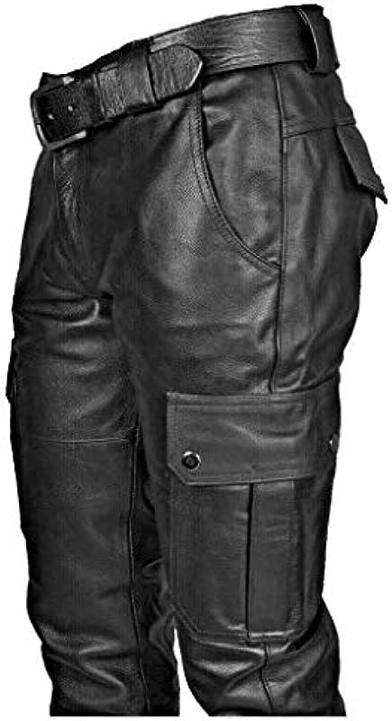 Amphia Męskie Lederhose,Męskie Pocket Punk Retro Goth Mode Slim Fit Hosen Lederhosen,Slim Fit Hose aus PU Leder Elastisch Bikerhose Lederjeans für Winter Winddicht und Wasserdicht: Odzież