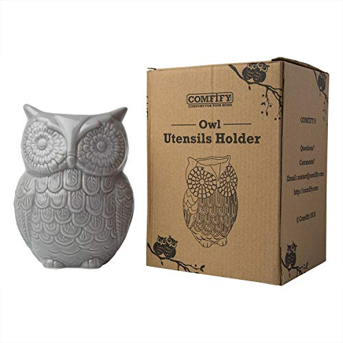 """Comfify Owl Utensil Holder Decorative Ceramic Cookware Crock & Organizer, in Lovely Grey Color - Utensil Caddy and Perfect Kitchen Ceramic Décor Gift - 5"""" x 7"""" x 4"""" Size by Comfify (Image #1)"""