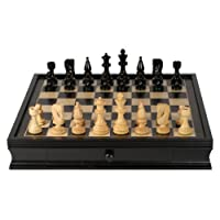 WE Games Grand Russian Style Chess Set with Storage Drawers - Weighted Pieces & Black Stained Wood Board 19 in.