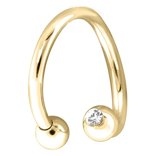 14K Gold Twister Barbell With 4Mm Clear Gem Balls, 14Ga, 14K Yellow Gold, 1/2