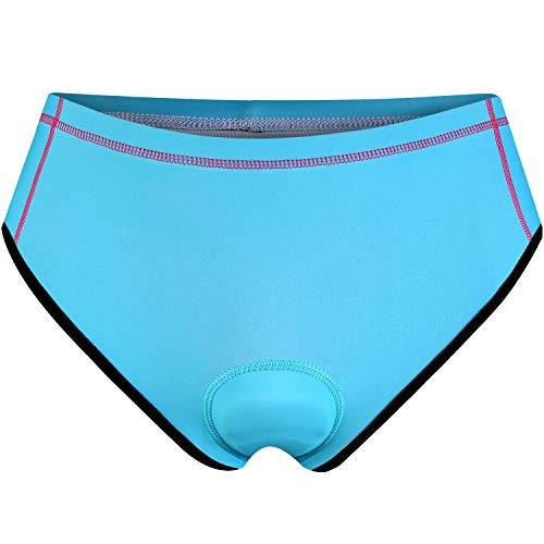 - NOOYME Women Bike Underwear Gel 3D Padded Printed Design Bicycle Briefs Cycling Underwear Shorts (Large, Cyan)
