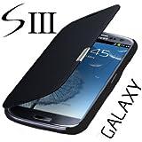 Samsung Galaxy S3 Neo Gt - i9301i / S3 i9300 / S3 LTE i9305 Flip Cover Schwarz / Black Hülle Tasche Akkudeckel Flip Case