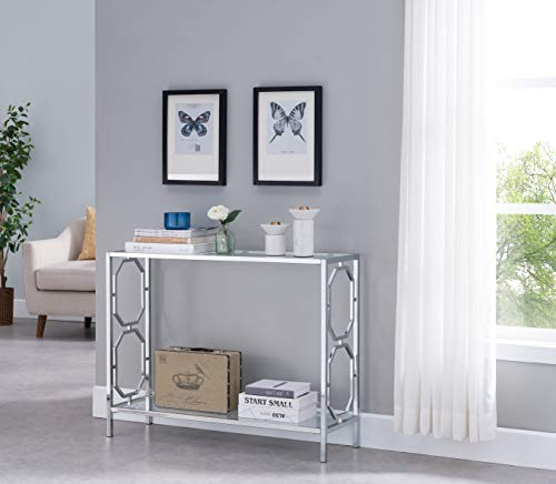 Chrome Finish Glass 2-Tier Contemporary Console Sofa Table with Lower Shelf and Hexagon Designs Sides
