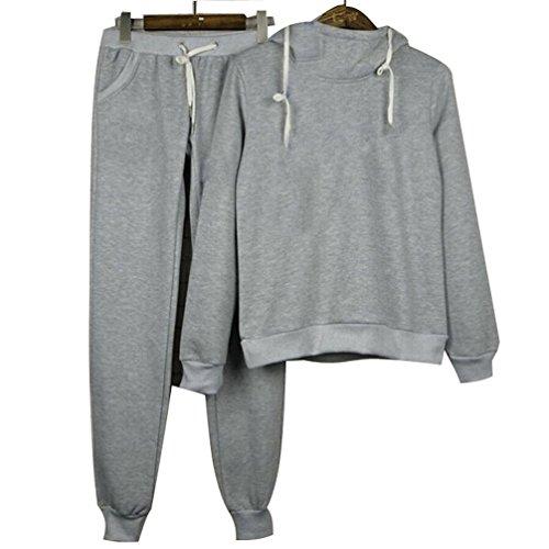 Cotton Womens Activewear Set (Women's Cotton Hoodie+Pant Tracksuit Sport Sweat Suit Set (XL, Gray))