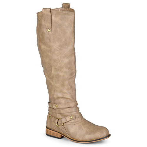 Journee Collection Womens Regular Sized and Wide-Calf Ankle-Strap Knee-High Riding Boot Taupe 10