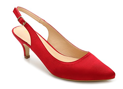 ComeShun Womens Shoes Red Buckle Kitten Adjustable Slingback Heels Pumps Size (Red Slingback Pump)