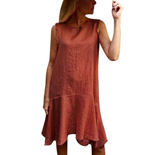 Summer Dress Women Fashion Short Sleeve Cotton Linen Loose Bohe Casual Retro Dress for Girl Beach Dress Cute
