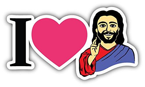 - novland I Love Jesus Religion Car Bumper Sticker Decal 6'' x 3''
