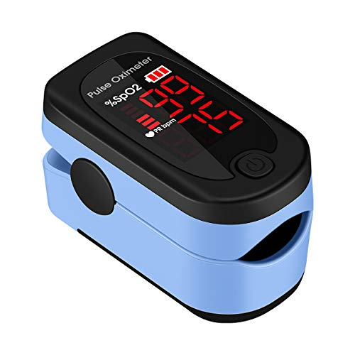 Pulse Oximeter Fingertip, ATMOKO SpO2 Blood Oxygen Saturation Monitor Heart Rate Monitor with Large LED Display Finger Pluse Meter , Included Batteries and Lanyard for Home, Exercise and Travel Use
