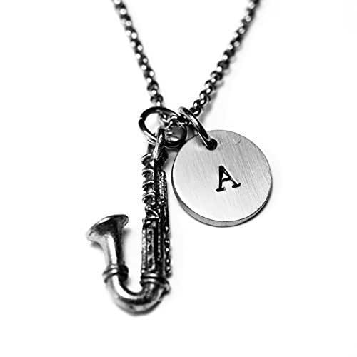 c056963c233c Amazon.com  Antique Silver Plated Pewter Saxophone Necklace ...