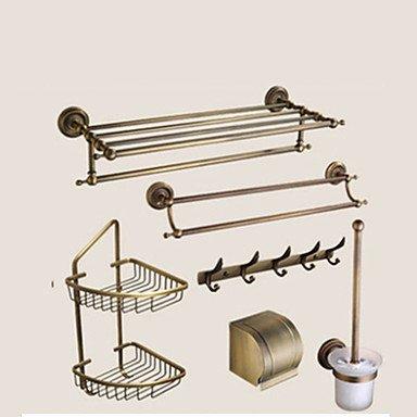 TY Bathroom Accessory Set / Antique Brass Towel Bar Antique Brass Wall Mounted 625 x 90x125mm (24.6 x 3.54 x 4.92) Brass / Ceramic / Crystal Antique by Bathroom Accessory Sets (Image #6)
