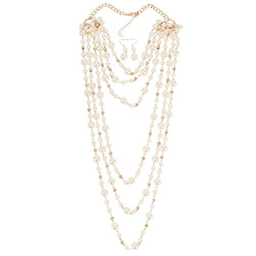 KOSMOS-LI Fashion Faux Pearls Beads Cluster Long Necklace