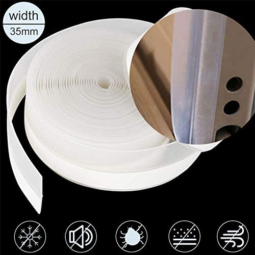 WELSTIK Weather Stripping for Doors and Windows Silicone Seal Strip for The Side of The Glass Shower Door Self-Adhesive Door Strip Bottom 35mm, High Transparent 8M//26ft