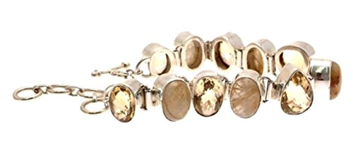 bracelet femme en argent massif 925 et citrine Pierre routile Doré