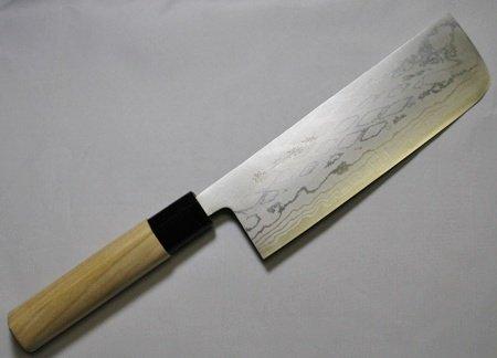 White Magnolia Handle - Kanetsune Usuba Chef's Knife with Damascus Blade and White Magnolia Handle