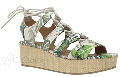 MVE Shoes Flatform Cork Espadrille Wedge Sandals - Ankle Lace Up Summer Shoes - Open Toe Cute Sandals, Green Multi Size (Green Wedge Platform)