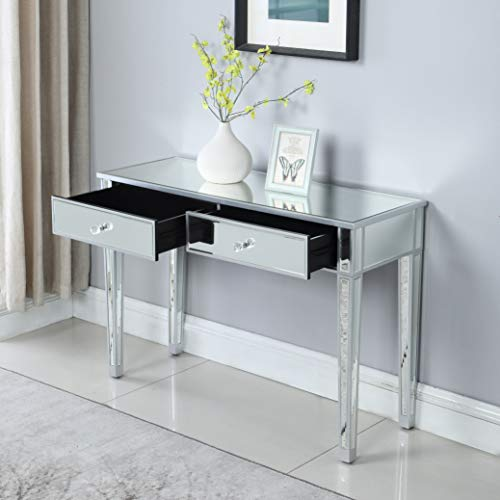 Mirrored 2-Drawer Media Console Table, GA Home Makeup, used for sale  Delivered anywhere in USA