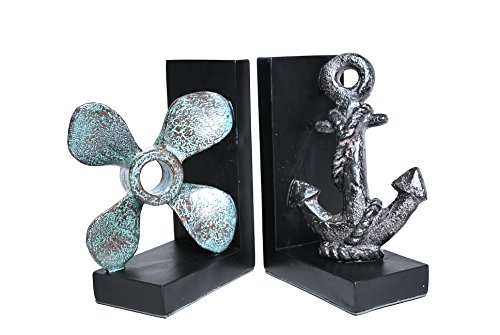 Royal Brands Decorative Bookends – Nautical Decoration Bookends (Pair) – Anchor and Propeller Bookends – Great Gift and Perfect for Holding Books, DVDs or CDs (3″ x 5.5″ x 8″)