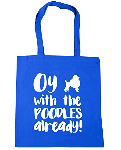 HippoWarehouse Oy with the poodles already Tote Shopping Gym Beach Bag 42cm x38cm, 10 litres Cornflower Blue