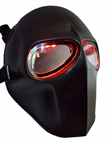 [Invader King ® Flat Black LEDs Airsoft Mask Paintball Protective Gear Outdoor Sport Fancy Party Ghost Masks Cs] (Easy Bane Costumes)