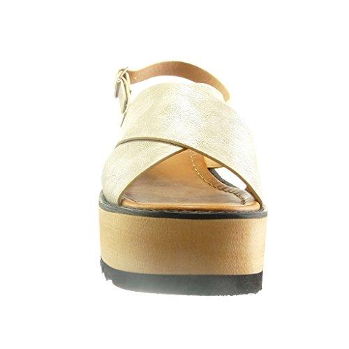 Compensé Plateforme Sandale Femme 6 Plateforme Chaussure Or Ouverte Mode cm Angkorly Lanière 5 Talon 8qzCEwEna