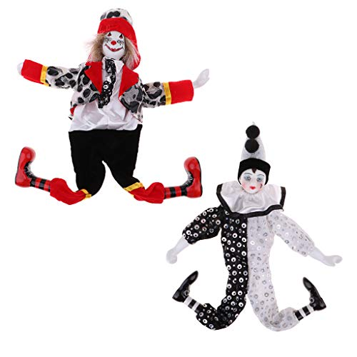 - Prettyia 2 Pieces 38cm Porcelain Hanging Foot Clown Doll Harlequin Doll Home Office Desk Shelf Display Ornaments Black & White & Red