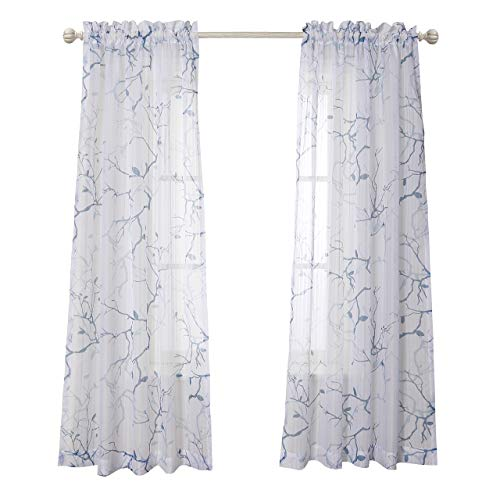 (MYSKY HOME Leaves Fashion Design Print Striped White Sheer Curtains with Rod Pocket for Dining Room, 52 by 84 inch, Blue, 2 Curtain Panels)
