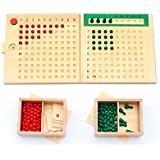 Vidatoy Boxed Arithmatics Teaching Aids Bead Abacus Educational Wooden Toys For Children Maths Learning Multiplication board and Division board 2 in 1 Montessori Teaching Aids for Mathematics