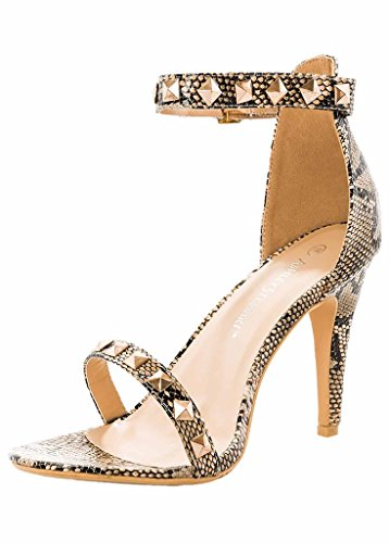 Orly Shoes Women's Wide Width Strappy Heel with Studs in Snake Size: 9W