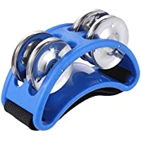 Foot Tambourine Percussion Musical Instrument 2 Sets Metal Jingle Bell for Drum Accessory Instrument (Blue)