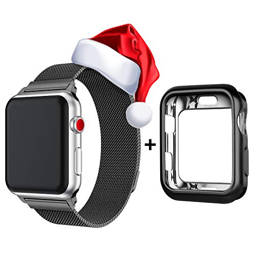 WEFU Compatible with Apple Watch Band 38mm 42mm with Case, Stainless Steel Mesh Milanese Loop with Adjustable Magnetic Closure Replacement for iWatch Band Compatible with Apple Watch Series 3 2 1