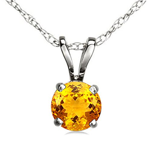 Gold Round Citrine Pendant (14K White Gold 7 mm Round Cut Citrine Ladies Solitaire Pendant (Silver Chain Included))
