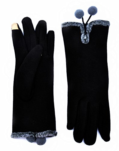 Winter Texting Gloves Touch Screen Mittens Warm Cold Weather Gloves For Women Black