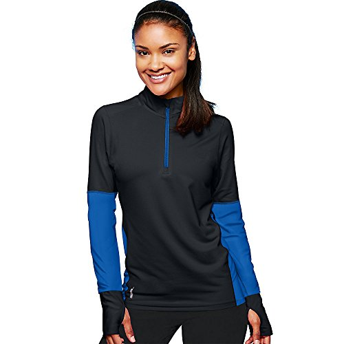Duofold by Champion THERMatrix153; Womenâ€s 1/4 Zip Pullover, Black/Bozzetto Blue, L