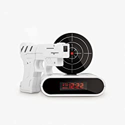 Cool Gun Shooting Target Alarm Clock 16 Feet Recordable Wake up Clock Toys Gift